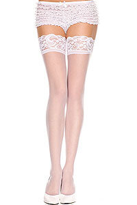 White self-holding stockings Music Legs S-L (34-40) 15 DEN